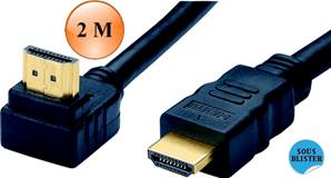CORDON HDMI 1.4 Coudé HIGH SPEED WITH ETHERNET, M Droit / M à90°  2 M
