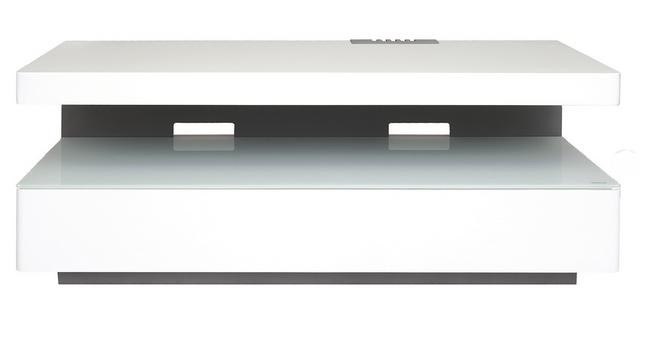 Meuble laque blanc semi brillant avec caisson de rangement for Meuble laque blanc brillant