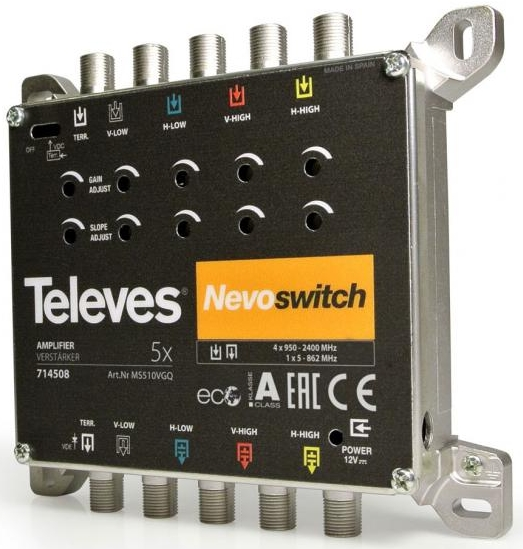 "AMPLIFICATEUR 5x5 ""F"" MATV/BIS GAIN 12 / 15 dB Vs110 dBµV TELEVES"