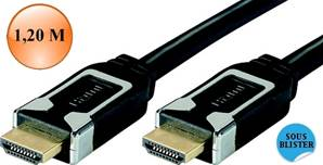 CORDON HDMI 1.4 Chrome HIGH SPEED WITH ETHERNET, Mâle / Mâle 1,20 M