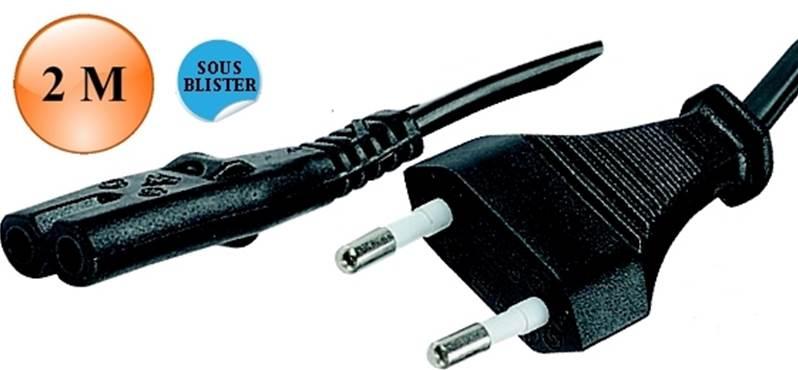 2 m-Prises 1-Noir Câble CP129-IEC femelle C7-IEC C8 mâle