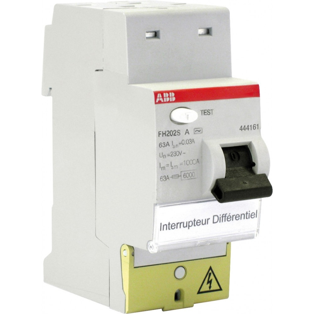INTERRUPTEUR DIFFERENTIEL FH202S 30mA 63A TYPE AC SANS VIS 444061 ABB