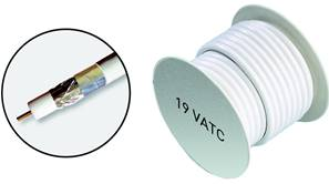 BOBINE DE CABLE COAXIAL 19 VATC  Ø 6.8 mm - BLANC  25 M ERARD CONNECT